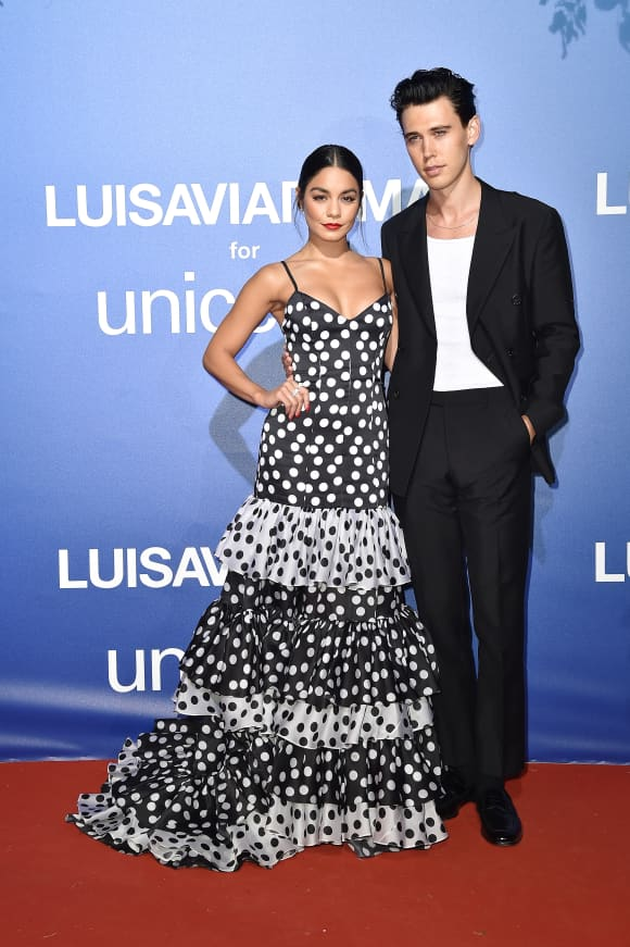 Vanessa Hudgens and Austin Butler attend the photocall at the Unicef Summer Gala Presented by Luisaviaroma at on August 09, 2019