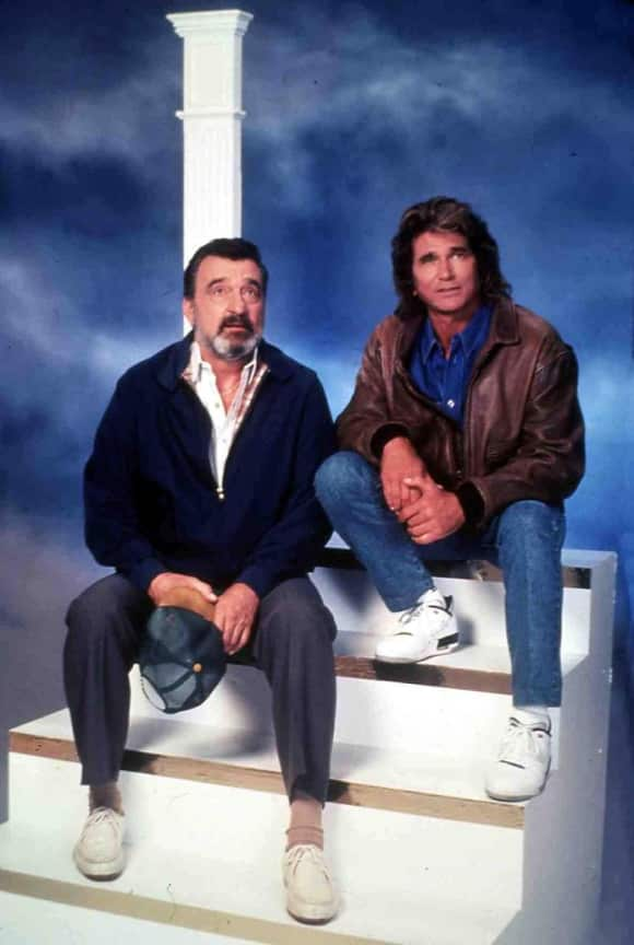The 'Highway to Heaven' cast: Victor French and Michael Landon